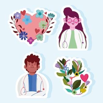 Lekarz kobieta i mężczyzna serce kreskówka kwiaty zestaw ilustracji