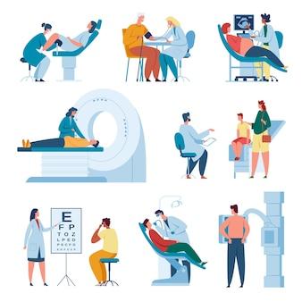 Lekarz konsultujący pacjenta w klinice profesjonalny personel medyczny w pracy zestaw