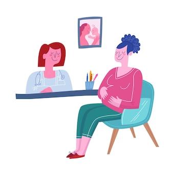 Lekarz konsultuje kobietę w ciąży. mieszkanie słodkie