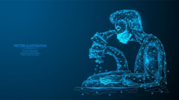 Lekarz lub pracownik medyczny w masce medycznej analizuje test pod mikroskopem. badanie laboratoryjne, stworzenie szczepionki lub leku. innowacyjna medycyna. 3d model szkieletowy low poly ilustracja.