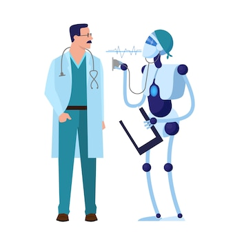 Lekarz ludzi i robotów. technologia robotyczna w przemyśle medycznym. idea opieki zdrowotnej. ilustracja