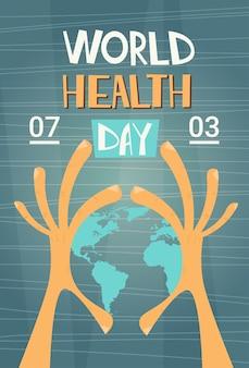 Lekarz medycyny trzymać rękę ziemi planeta zdrowia światowy dzień globalny wakacje transparent