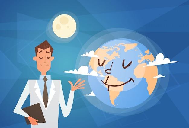 Lekarz medycyny ziemi planeta zdrowia światowy dzień globalny wakacje transparent