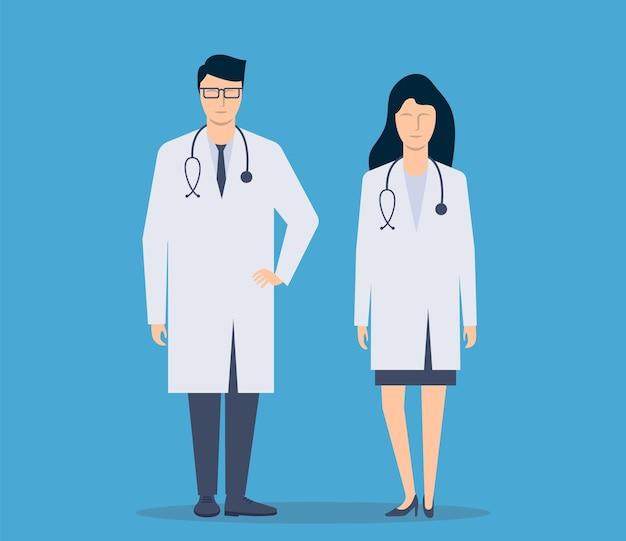 Lekarz mężczyzna i kobieta pielęgniarka stoją w pełni wzrostu na białym tle. ilustracja wektorowa