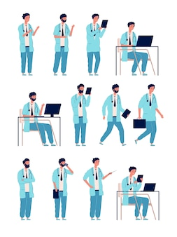 Lekarz mężczyzna. opieki zdrowotnej osoba medyczna w pracy managera man postacie w pozach działania
