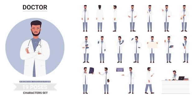 Lekarz mężczyzna pozuje zestaw brodaty pracownik medyczny ze stetoskopem pozowanie do pracy w szpitalu