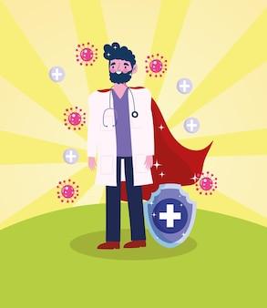 Lekarz mężczyzna superbohatera