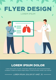 Lekarz mówi pacjentowi o płucach. wykład, choroby, ilustracja wektorowa płaski oddech. koncepcja medycyny i opieki zdrowotnej na baner, projekt strony internetowej lub stronę docelową