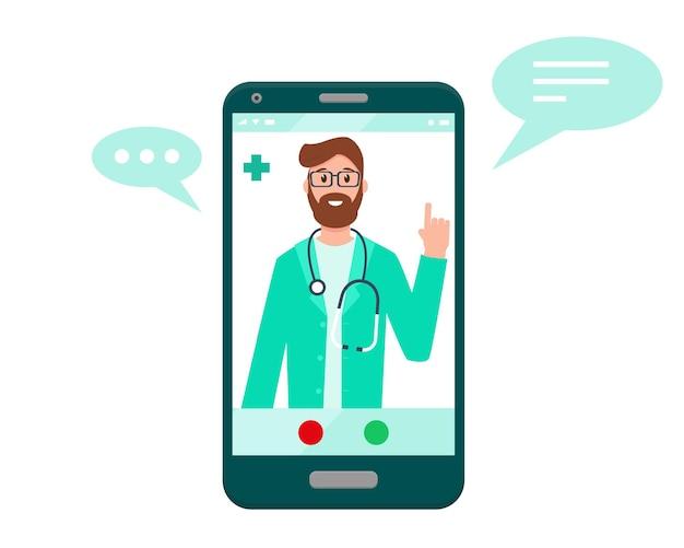 Lekarz na ekranie smartfona koncepcja lekarza online wsparcie konsultacji medycznych lub konferencji