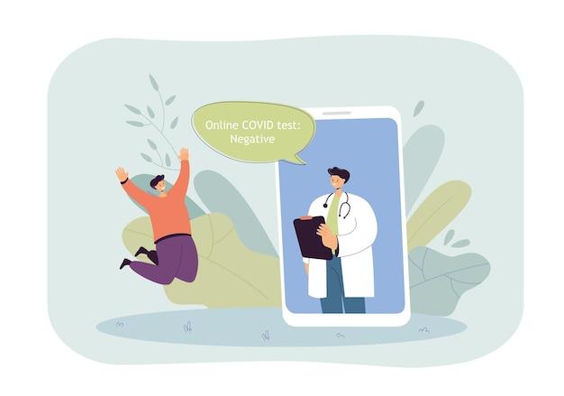 Lekarz na ekranie telefonu informujący pacjenta o wynikach testu na covid. człowiek szczęśliwy z negatywnego wyniku testu na koronawirusa płaska ilustracja
