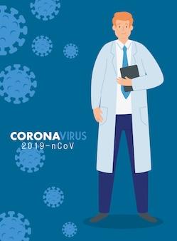 Lekarz na plakacie koronawirusa 2019 ncov