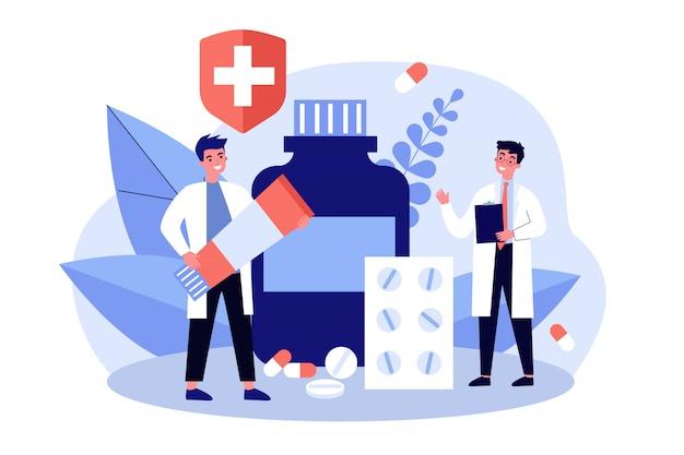 Lekarz na receptę i farmaceuta z tubką maści