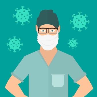 Lekarz nosi maskę, ilustracja wektorowa covid-19. zakażenie koronawirusem covid