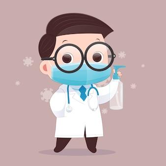 Lekarz nosi maskę medyczną i nosi alkoholowy żel do mycia rąk. ilustracja.