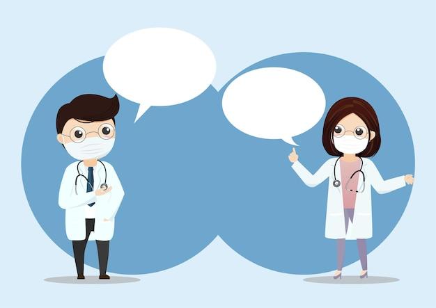 Lekarz nosi maskę medyczną z tekstem bańki. lekarz młody lekarz w szpitalu. ilustracja konsultacji i diagnozy.