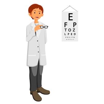 Lekarz okulista dając okulary
