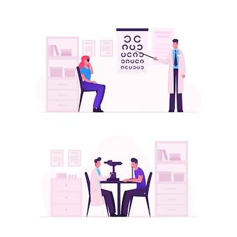 Lekarz okulista sprawdź wzrok pod kątem dioptrii okularów. płaskie ilustracja kreskówka