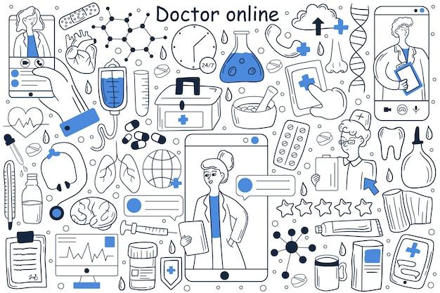 Lekarz Online Doodle Zestaw Premium Wektorów