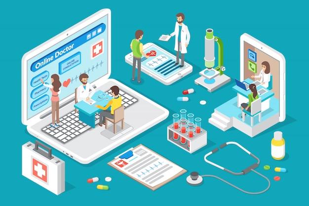 Lekarz online i ilustracji wektorowych konsultacji