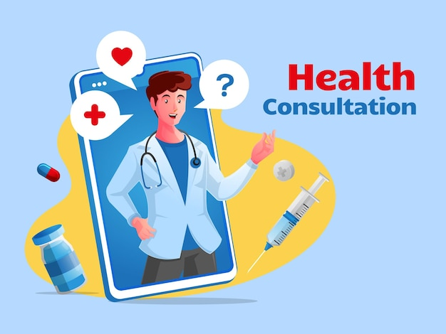 Lekarz online konsultacji zdrowotnej ze smartfonem