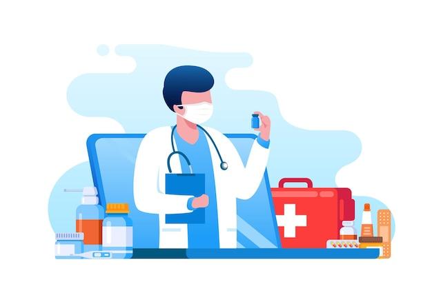 Lekarz online na konsultację medyczną płaska ilustracja wektorowa baneru strony docelowej