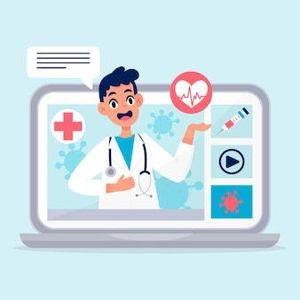 Lekarz online w szacie medycznej mówi