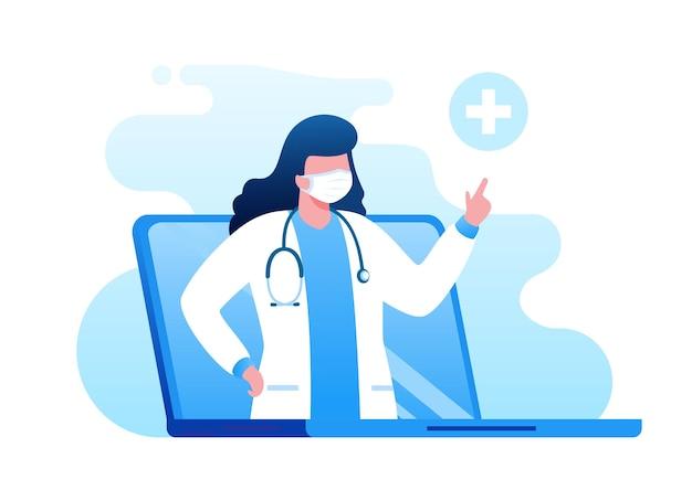 Lekarz online z gadżetem płaskim wektor ilustracja transparent