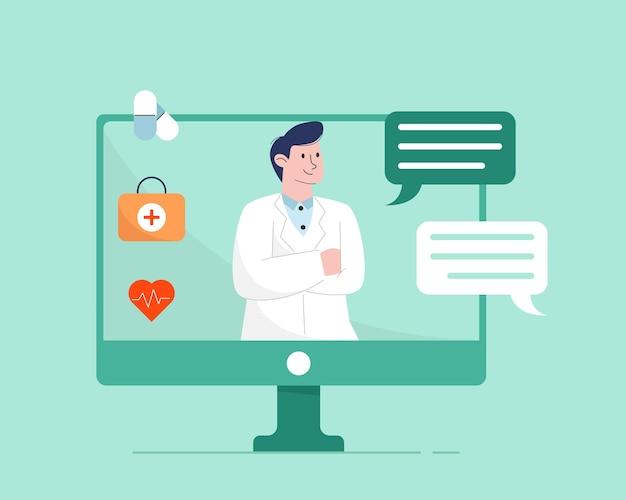 Lekarz online z komputerem
