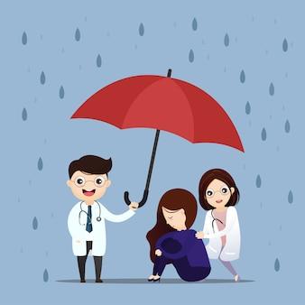 Lekarz opieki zdrowotnej podnosi parasol.