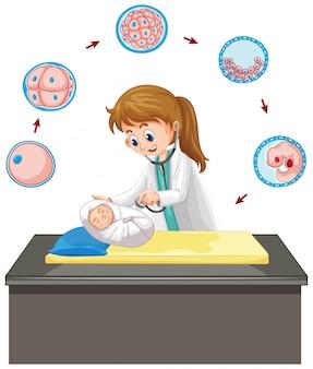 Lekarz opiekuje się niemowlęciem