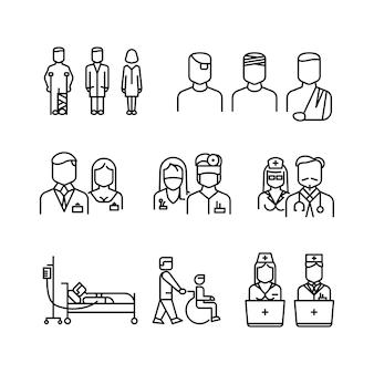 Lekarz, pacjent, pielęgniarka zestaw ikon cienka linia