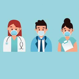 Lekarz pielęgniarka maskotka ikona kreskówka postać