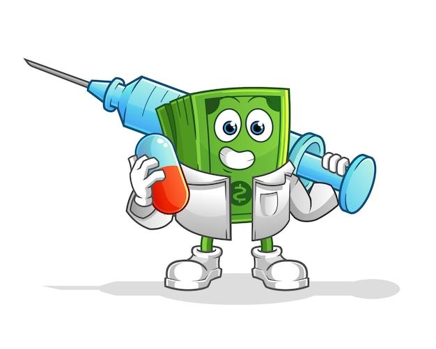 Lekarz pieniądze trzymając medichine i zastrzyk. postać z kreskówki