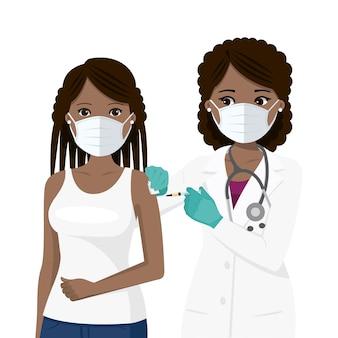 Lekarz podający szczepionkę