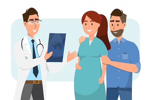Lekarz pokazuje arkusz usg do kobiety w ciąży i jej męża w szpitalu.
