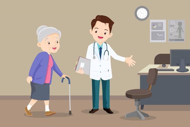 Lekarz pomaga babci iść do chodzika
