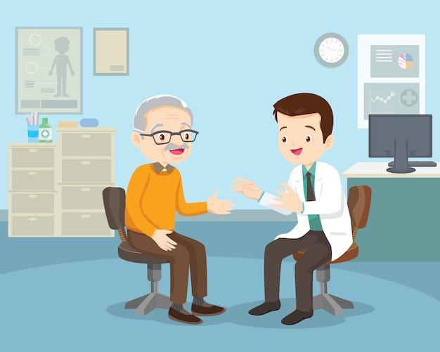 Lekarz pomaga sprawdzić dziadka