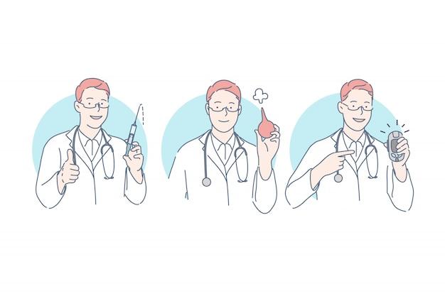 Lekarz, procedury medyczne zestaw koncepcji