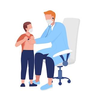 Lekarz przeprowadza ocenę płuc u pacjentów z półpłaskimi kolorowymi postaciami wektorowymi