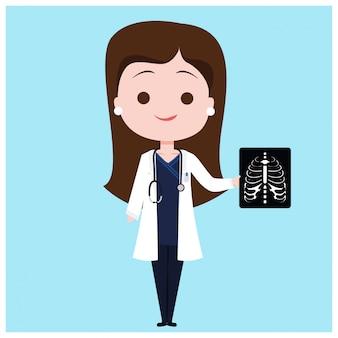 Lekarz przeprowadzający badanie rentgenowskie