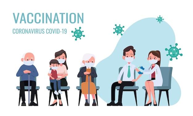 Lekarz robi zastrzyk szczepionki przeciw grypie mężczyznom na ilustracji szpitalnej