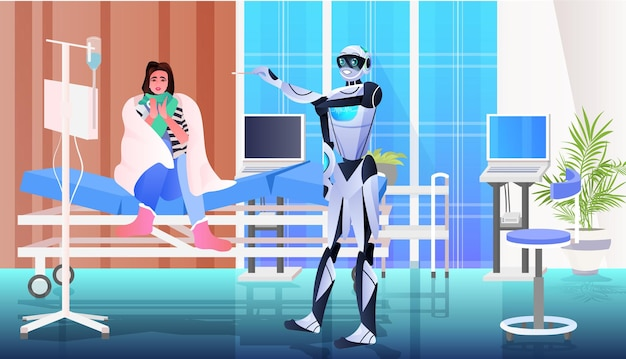 Lekarz robot biorący test wymazu na próbkę koronawirusa od kobiety pacjent procedura diagnostyczna pcr covid-19 pandemia koncepcja sztucznej inteligencji portret pozioma ilustracja wektorowa