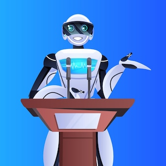 Lekarz robot wygłasza przemówienie z trybuny konferencji medycznej medycyna opieka zdrowotna sztuczna inteligencja