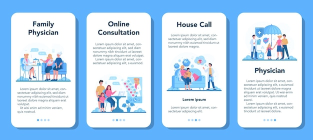 Lekarz rodzinny i baner aplikacji mobilnej ogólnej opieki zdrowotnej
