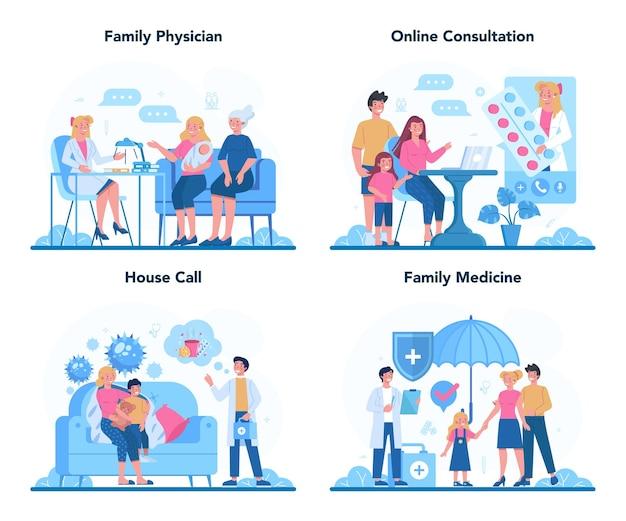 Lekarz rodzinny i zestaw koncepcji ogólnej opieki zdrowotnej. idea lekarza dbającego o zdrowie pacjenta. leczenie i powrót do zdrowia. ilustracja w stylu kreskówki