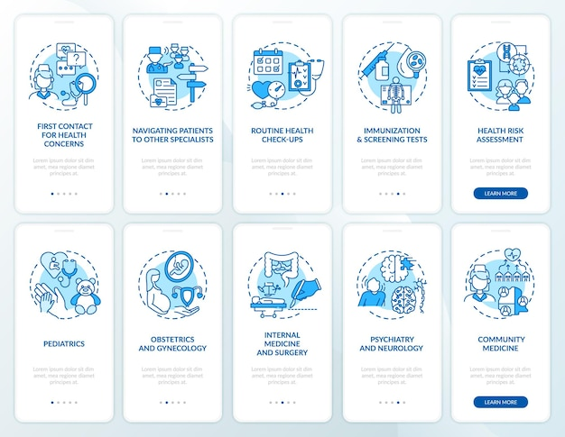 Lekarz rodzinny niebieski wprowadzający ekran strony aplikacji mobilnej z ustawionymi koncepcjami. przewodnik po opiece zdrowotnej 5 kroków instrukcji graficznych. ui, ux, szablon gui z liniowymi kolorowymi ilustracjami