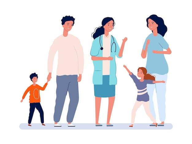 Lekarz rodzinny. pediatra, rodzice z dziećmi. dziewczyna i chłopiec radosny lekarz. pediatria, ludzie na ilustracji szpitala. lekarz rodzinny pediatra, zdrowie i opieka