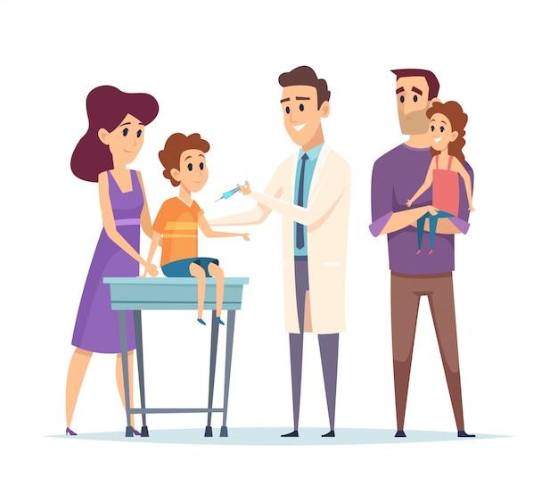 Lekarz rodzinny. pediatra, szczepienia ilustracja. szczęśliwe postacie rodziny i lekarza. szczepienia dzieci, pomoc medyczna
