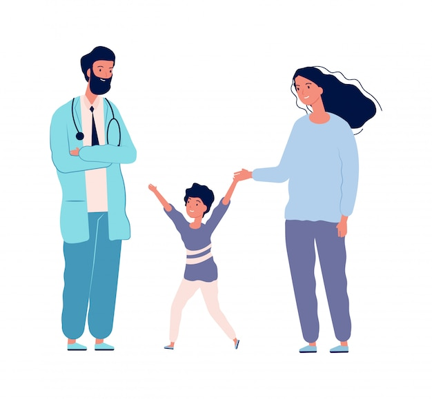Lekarz rodzinny. pediatra szpitalny szczęśliwy chłopiec z matką. centrum medyczne odwiedza, płaska mała cierpliwa zdrowie zapobiegania ilustracja
