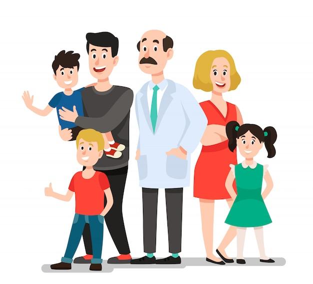 Lekarz rodzinny. uśmiechniętego szczęśliwego pacjenta rodzinny portret z dentystą, uśmiecha się zdrową dziecko kreskówki ilustrację